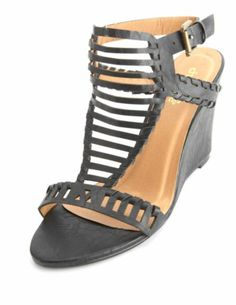 Whip-Stitched Laser Cut-Out Wedge Sandals: Charlotte Russe