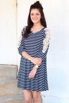 Lace Patch Striped Dress {Navy} | Online Boutique – The Fair Lady Boutique