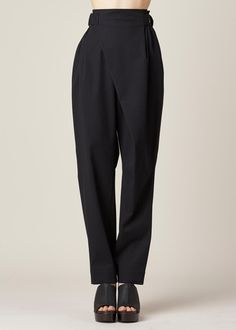 Issey Miyake Cotton Stretch High Waisted Crossover Pant (Black)