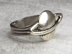 Planet Saturn Science Fiction Men's Jewelry Ring - Silver Tone by fripparie from fripparie. Visit http://ift.tt/1o0ATec for more awesome steampunk fantasy and goth jewelry and accessories.