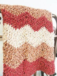 Garnet chevron crocheted lap blanket