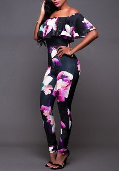Black Floral Print Ruffle Boat Neck Skintight Fashion Long Jumpsuit