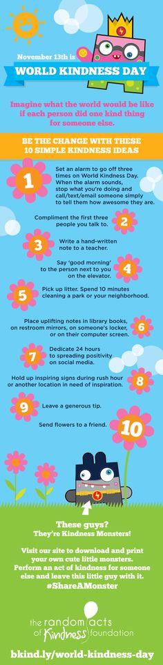 10 Simple Kindness Ideas for World Kindness Day, November 13. #WorldKindnessDay #ShareAMonster