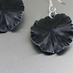 Black Anodized Aluminum Lily Pad Earrings from John S Brana Handmade Jewelry - Detail