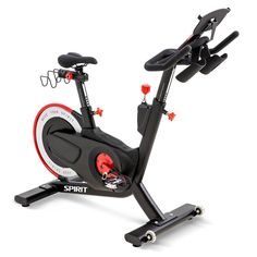 The CIC850 Indoor Cycle from Spirit Fitness is a high performance indoor cycle designed for use in health clubs, YMCA facilities, community centers, cycling studios, personal training centers, and home gyms. User experience is enhanced by smooth magnetic resistance and poly-v belt drive, 4-way seat and handlebar adjustability, and pedals featuring both SPD and toe cage design. Cardio Equipment, Belt Drive, Tablet Holder, Health Club, Training Center, At Home Gym, User Experience, Cage, Cycling