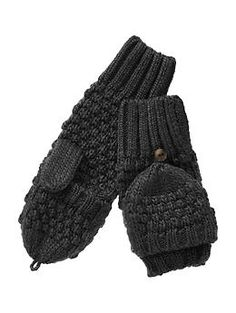 Moss stitch convertible mittens | Gap