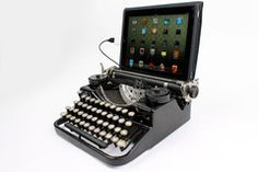 Typewriter Computer Keyboard / iPad Stand (Model A) http://www.usbtypewriter.com/collections/typewriters/products/usb-typewriter-underwood-standard