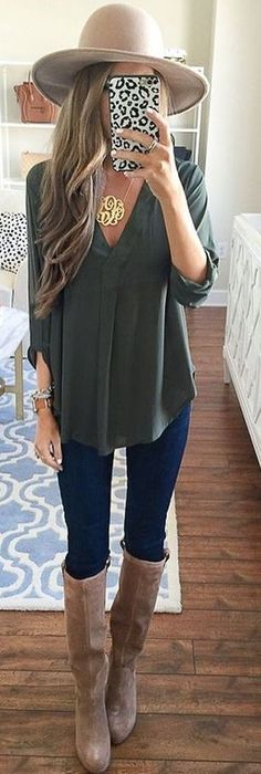 #summer #preppy #outfits |  Khaki Top + Jeans + Boots