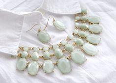 Fashion Jewelry Statement Light Green Gold Plated Gem Stone Bib Necklace(Set) #TwinkleJewel #CharmStatementNecklace