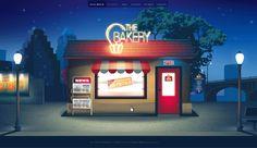 The Bakery // web design and illustration by Lena Vargas Afanasieva, via Behance