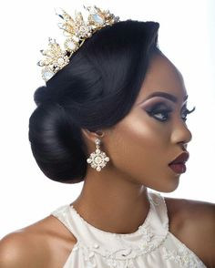 BN Bridal Beauty: Be Inspired by these Gorgeous Wedding Reception Looks for Every Beautiful Bride - BellaNaija Hair by Bridal Hair And Makeup, Bridal Beauty, Wedding Makeup, Hair Makeup, Black Bridal Makeup, Bride Makeup, Makeup Tips, Black Wedding Hairstyles, Black Girls Hairstyles