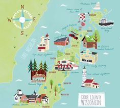 Bek Cruddace specialises in Illustrated Map Design and Cartography for the editorial, publishing, advertising, corporate, tourist & charity sectors. Door County Map, Door County Wisconsin, Madison Wisconsin, Washington Island Wisconsin, Business Cartoons, China Map, Tourist Map, Lake Michigan, Wisconsin Vacation