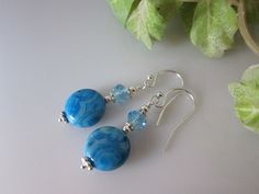 Blue Lace Agate Coin Earrings with Crystal and by IBKcreations, $16.00