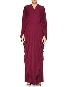"""Zac Posen draped crepe gown. Approx. measurements: 62""""L center back to hem. V neckline. Cape sleeves drape down arms and skirt; 32""""L. Open back with back button behind neck. Basque waist hidden back z"""