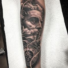 Amazing artist Kurt Vanderjagt @tattoosbykurt from Inkslingers awesome clock Poseidon tattoo! ...