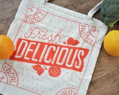 A lovely tote bag for the market inspired by vintage fruit crate labels. Hand printed and hand lettered 1-color print on light-weight natural canvas. By Mary Kate McDevitt