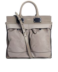 "rag & bone, Large Pilot - Fawn W234105LD. ""Semi-structured satchel-style bag made from Italian leathers. Top handles (4"" drop), adjustable/removable strap (18"" drop). Two front snap pockets and back exterior zip pocket. Canvas lined interior with leather-trimmed zipper pocket & two patch pockets at front. Air force helmet carrier inspired. 13""Lx12""Hx5.5""D"""