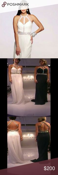 Faviana size 8 ivory with diamonds beautiful gown. Brand new with tags. Faviana Dresses Prom