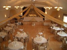 banquet wedding reception ideas | Banquet Hall decorated for a wedding reception – view from the ...