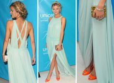 Love the dress and the shoes.   Brooklyn Decker, Unicef Ball.    Dress: Tory Burch, Bevin dress