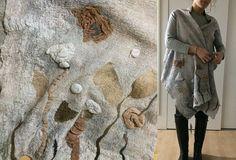 Felted wool Women light grey nuno felt top Wearable Art