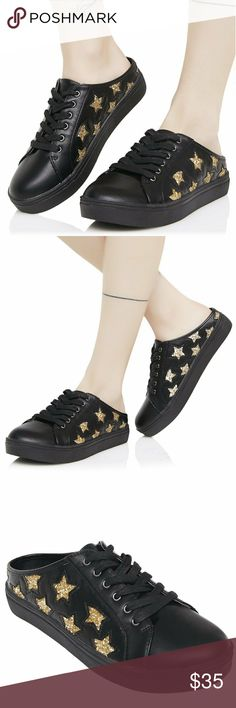 *COMING SOON* Dark Star Slip-On Sneakers Arriving next week or pre-order now so you don't miss out! I will ship on Thursday if you order now.  Dark Star Slip-On Sneakers you must be our lucky star, baby...These super cute sneakers feature a faux leather construction, silver glitter star design, lace ups and open backs for easy slippin' on and off. As summer fades and it's too chilly to slip into your flip-flops these are perfect for when you're late and need to fly out the door and you'll…