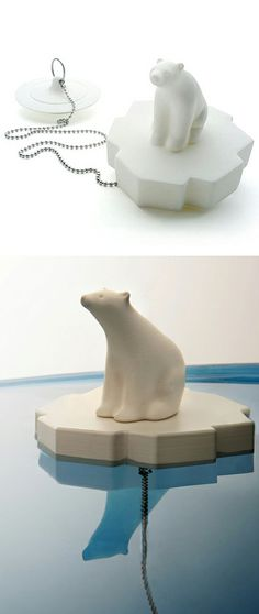 White Polar Bear Bath Plug // I love this design! #product_design #emotional_design #bath