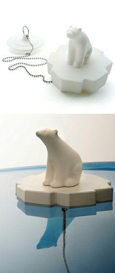 White Polar Bear Bath Plug // I love this design! #product_design #emotional_design #bath