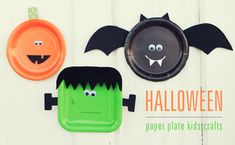 #Halloween Kids #Craft : Paper Plate Bat, Pumpkin and Frankenstein how adorable! from @Rebecca Cooper
