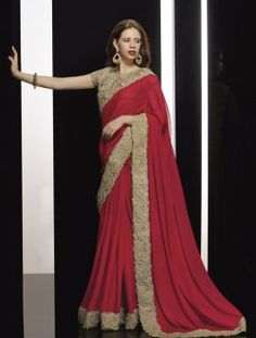 Party Wear Chiffon Maroon Embroidered Work Saree