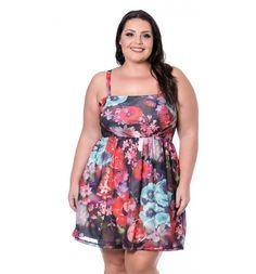 Vestido Polinésia Floral com Alça Miss Masy Plus Size  #modaplussize #roupasplussize #roupasfemininas #modafeminina #plussize #beline