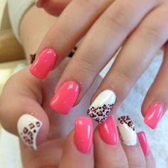 Hot Pink Nails w leopard print