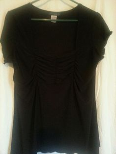 Women's Solid Black Short Sleeve Blouse Shirt Plus 1X Lightweight Casual George #George #Blouse #Casual