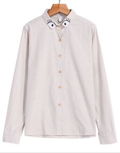 Eyes Embroidered Vertical Stripe Blouse