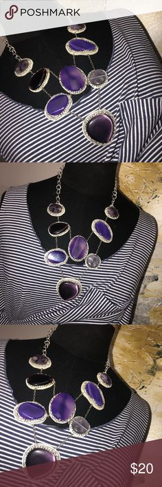 Purple Agate Necklace Purple stones with sliver chains. Lays over the chest like a bib necklace. Adjustable necklace. Jewelry Necklaces