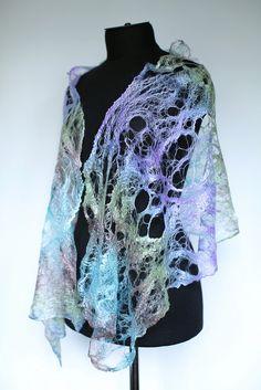 Cobweb Felted Scarf Wrap Nuno Felt Scarf, Felted Scarf, Nuno Felting, Needle Felting, Water Soluble Fabric, Creative Textiles, Felting Tutorials, Fabric Manipulation, Felt Art