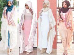 Abaya cardigan hijab fashion- Muslim women hijab trends http://www.justtrendygirls.com/muslim-women-hijab-trends/
