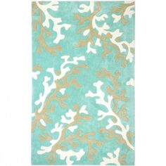 Jaipur Rugs Fusion Coral Fixation Turquoise Blue / White Contemporary Rug - FN06