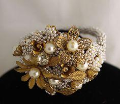 Vintage Miriam Haskell Baroque Seed Pearl Rhinestone Bracelet | eBay