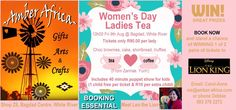 Women's Day Ladies Tea - Book your seat NOW to avoid disappointment. #amberafrica #womensday #whiteriver #bagdag #chocbrownies #cake #shortbread #truffles #art #craft #gifts #win #prizes #TheLionKing