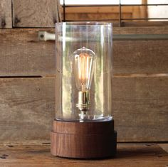 Signature Lantern Pedestal Lamp Walnut Solid by WorleysLighting Home Lighting, Modern Lighting, Edison Lamp, I Love Lamp, Primitive Homes, A Table, Table Lamp, Desk Lamp, Dot And Bo
