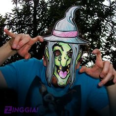 Wanna make your own Halloween mask? Check out this Witch paper mask for kids to print, color, cut, wear, & SCARE! INSTANT DOWNLOAD PDF. DIY halloween costume. ZINGGIA!