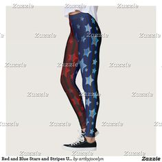 bc94af359d513 Red and Blue Stars and Stripes US Patriotic Theme Leggings Red And Blue,  Stripes,