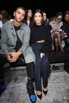 Younes Bendjima and  Kourtney Kardashian attend the Haider Ackermann show as part of the Paris Fashion Week Womenswear Spring/Summer 2018 on September 30, 2017 in Paris, France.  (Photo by Antonio de Moraes Barros Filho/WireImage)