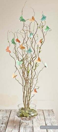 Idea for displaying origami butterflies or birds.