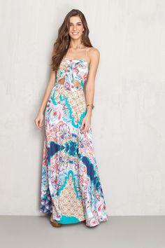 vestido estampado sunshine detalhe nó | Dress to
