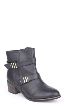 Black Heeled Ankle Boots With Strap And Metal Detail