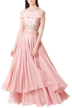 Buy Rose pink georgette embroidered crop top with palazzos by Mahima Mahajan at Aza Fashions dresses indian crop top Buy Rose pink georgette embroidered crop top with palazzos by Mahima Mahajan at Aza Fashions Indian Wedding Gowns, Indian Gowns Dresses, Indian Bridal Outfits, Indian Fashion Dresses, Indian Designer Outfits, Designer Dresses, Wedding Dresses, Stylish Dress Designs, Stylish Dresses
