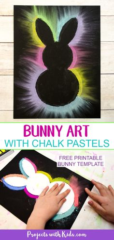 This bunny art project is adorable and so fun for kids to make! Kids will love using this easy chalk pastel technique to create this brightly colored Easter craft. Free bunny template included. #kidsart #chalkpastels #eastercrafts #projectswithkids