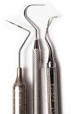 Tools are the most important part of a dentist's work. Because dentists are not able to use their hands in people's small mouths, they must use very specific tools. These periodontal probes are used to find pits and fissures in the teeth.   http://www.dentist-tools.com/